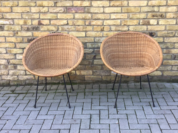 1960's Bamboo pair of chairs