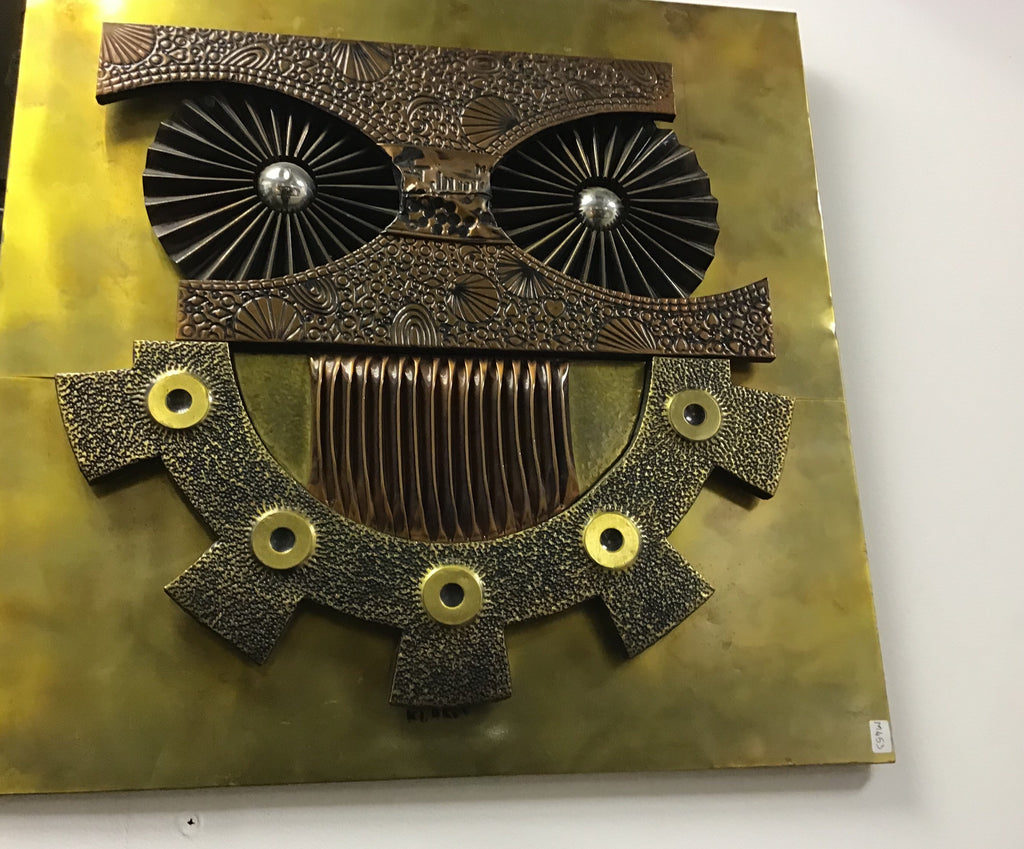 A COPPER AND BRASS SHEET OWL SCULPTURAL WALL PANEL 1970S