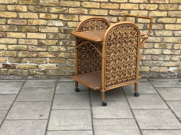 1970's Bamboo drinks trolley