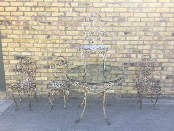 Vintage French metal garden table and chairs