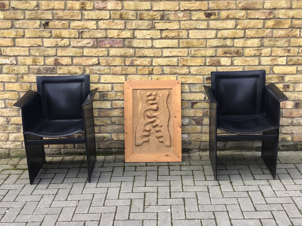 1970's Arrben pair of vintage leather Italian lounge chairs