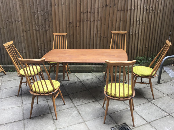 1960's Ercol dinning table 6 chair SOLD