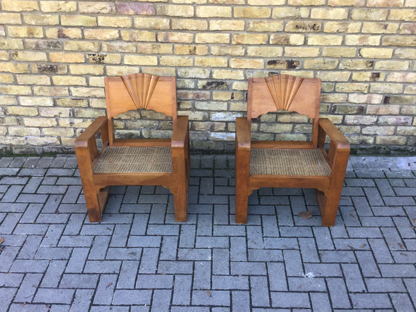 A Pair of Sunbust  Deco armchairs
