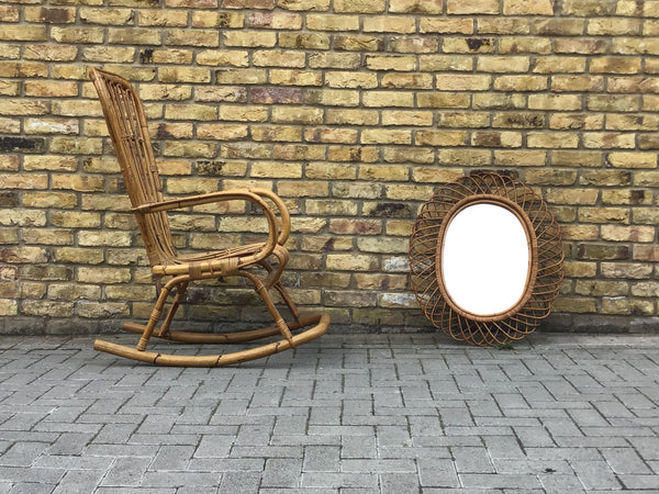 1960's French bamboo rocking chair