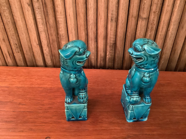Pair of 1950s Chinese, Glazed Peking Blue Foo Dogs