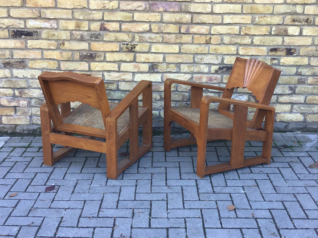 A Pair of Ratten seated Deco armchairs
