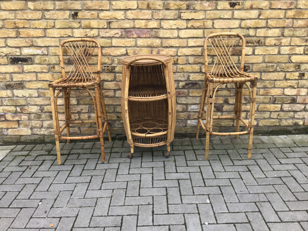 1950's Italian Bamboo bar set by Bonacina
