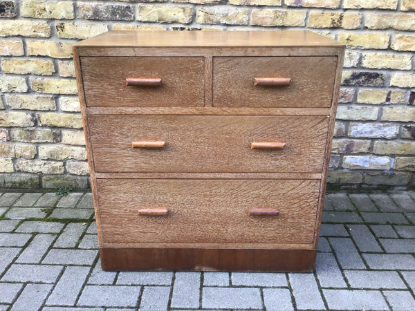 1930's Heal style oak  chest of draws