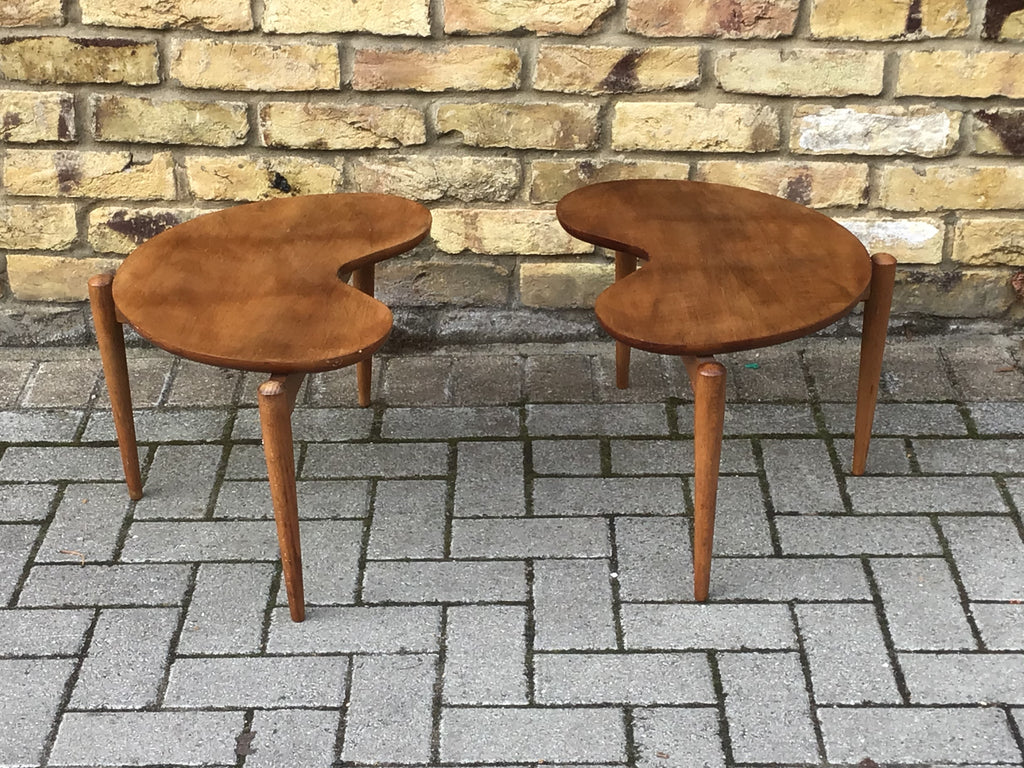 A pair of 1950's Kidney side table