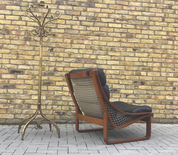 Bent wood Scandinavian leather armchair