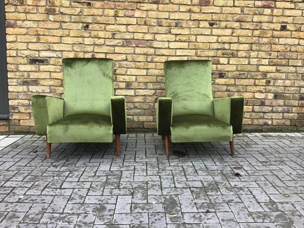 1950's French green velvet armchairs