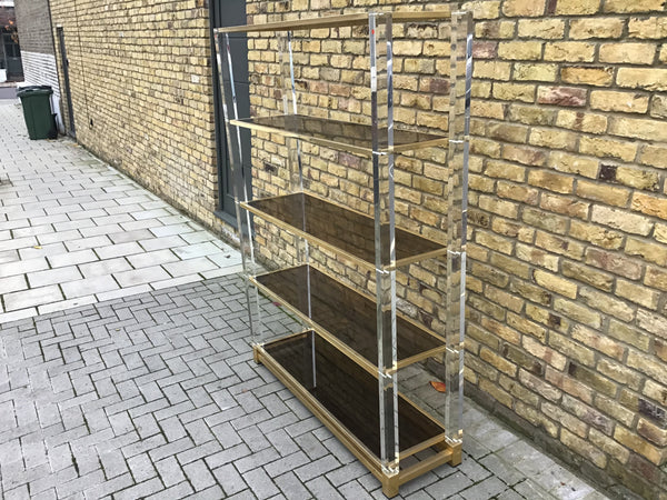 1970's perplex and brass shelving inspired by Charles Hollis Jones
