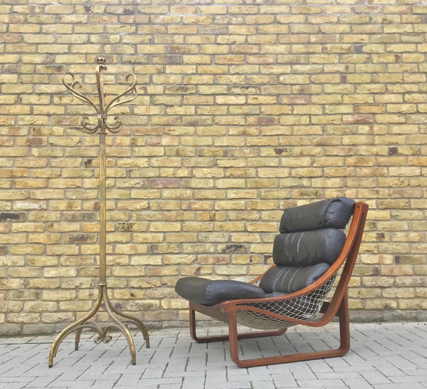 Bent wood Scandinavian leather armchair SOLD