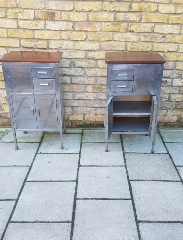 A pair of 1930's Industrial cabinet