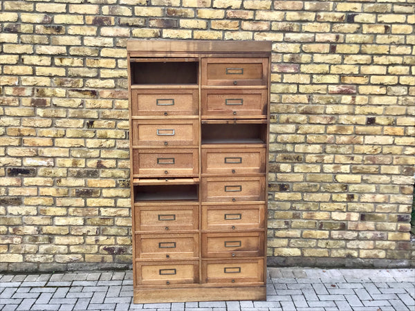 1930's French wooden filing cabinet /pull down flaps