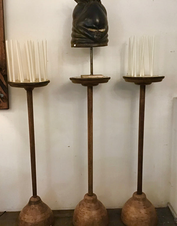 1950's oak church candle holder stands