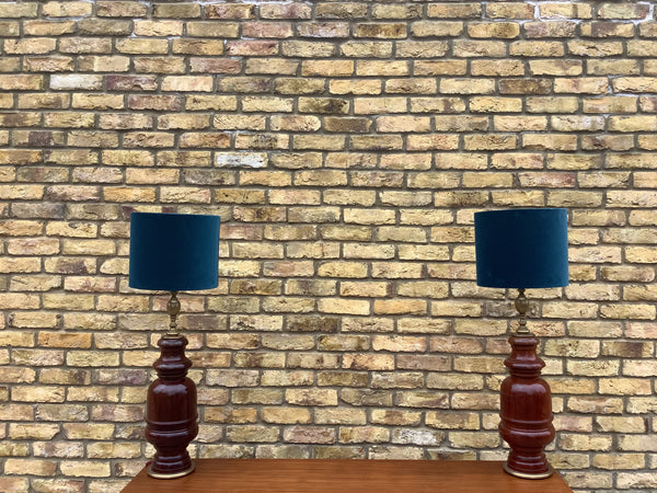 Bespoke pair of solid  wood table lamps