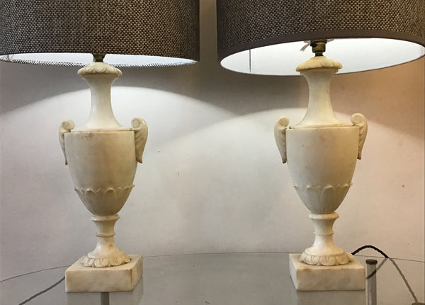 Neoclassical Alabaster table Lamps.  SOLD