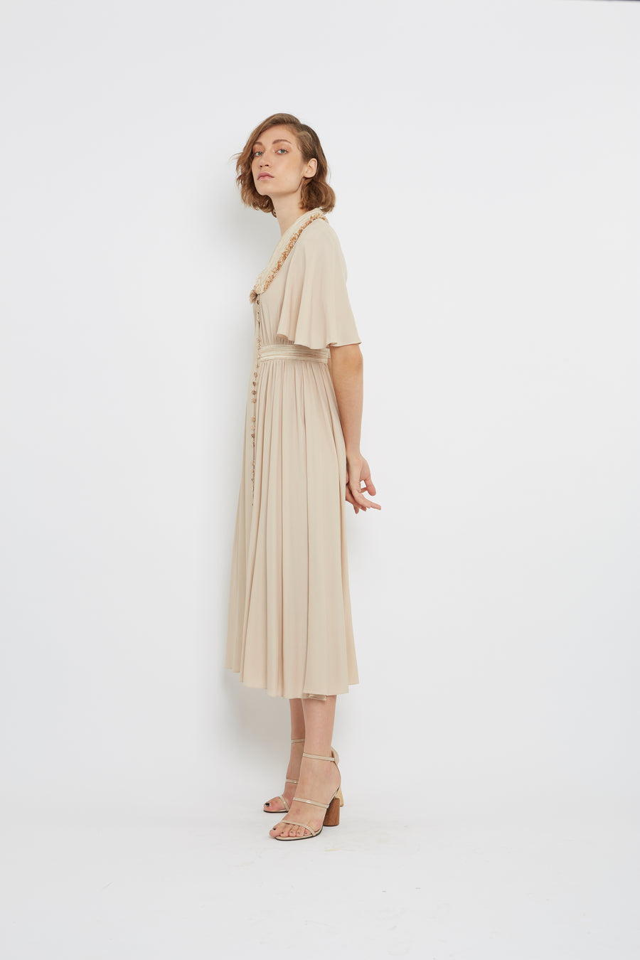 SILK COLLARS LONG DRESS
