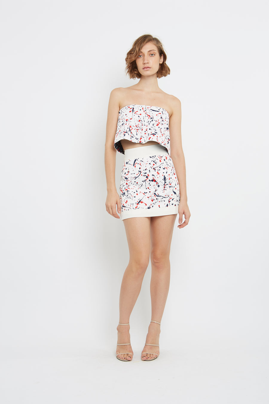 PRINTED FABRIC Strapless shirt