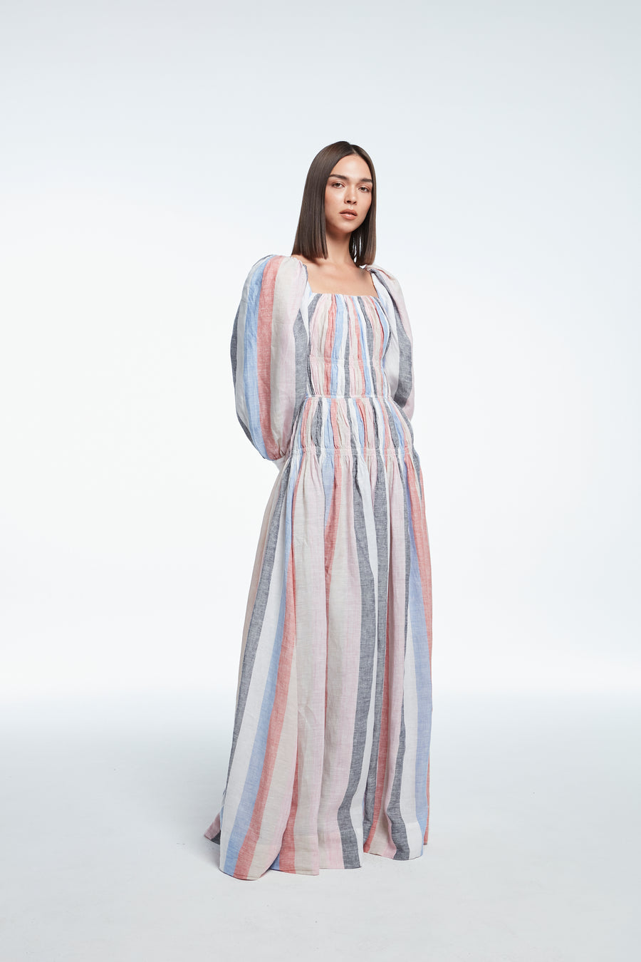 Long sleeve linen striped dress in black