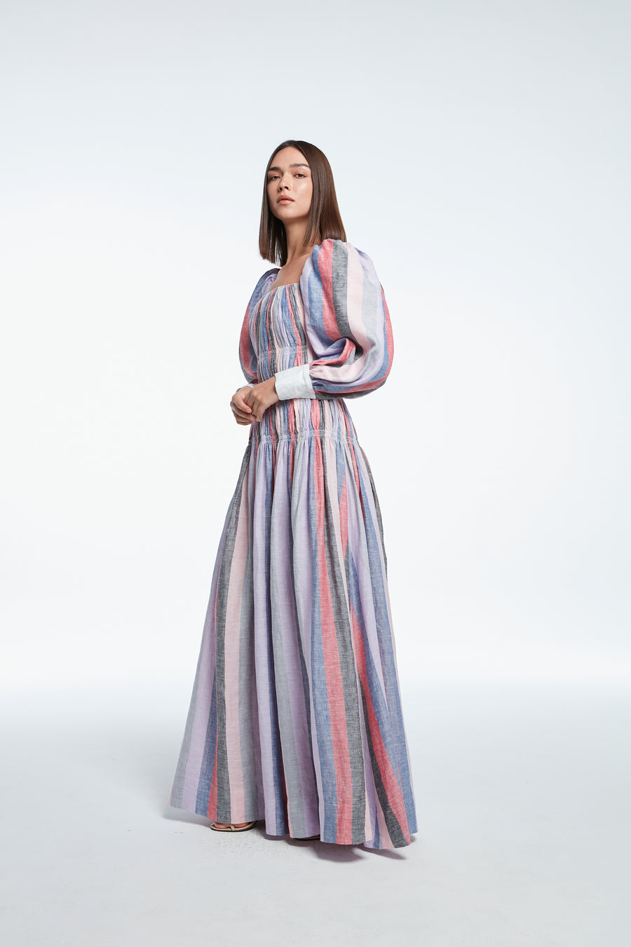 Long sleeve linen striped dress in pupple