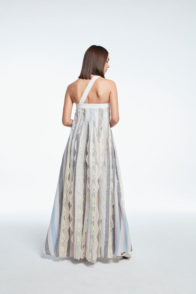 (Pre-Order) One-shoulder long dress with lace trim