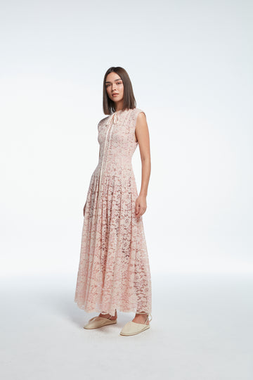 (Pre-order) Sleeveless long lace dress