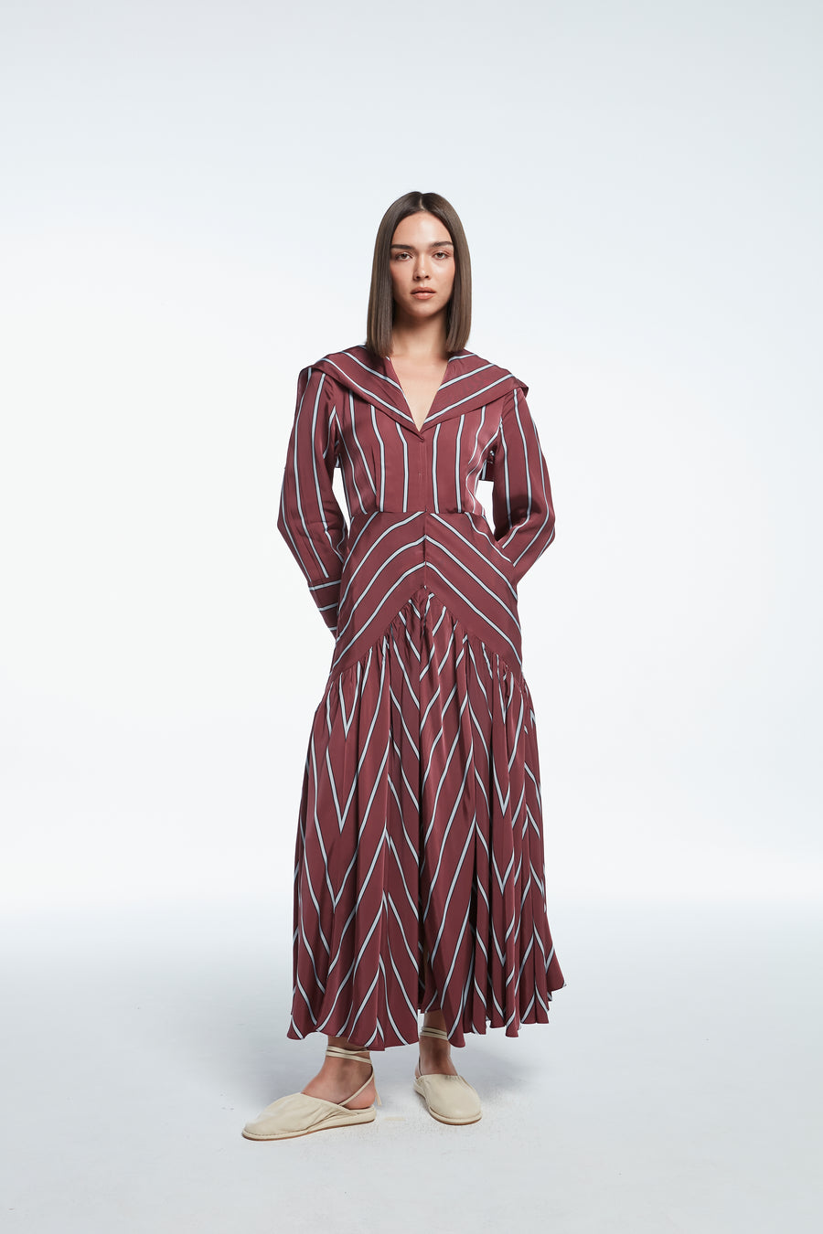 Long striped satin dress in red