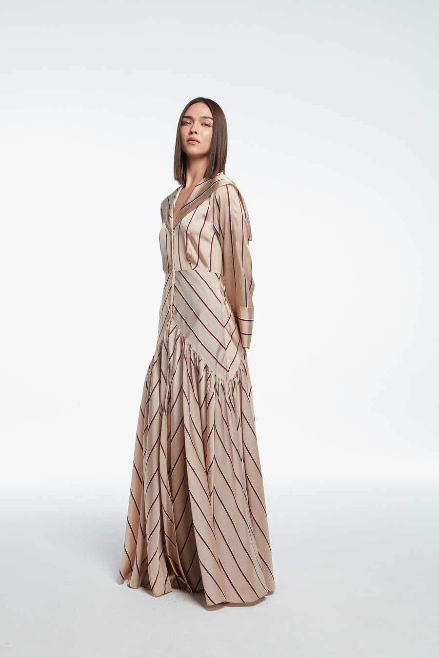 Long striped satin dress in cream