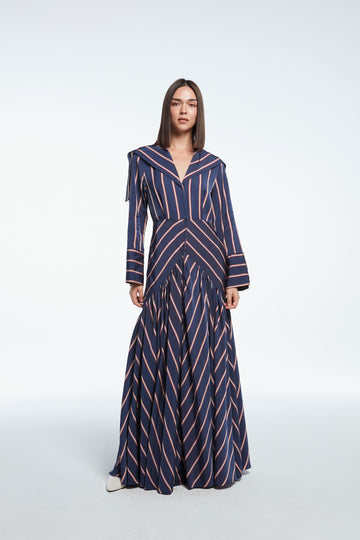 Long striped satin dress in blue