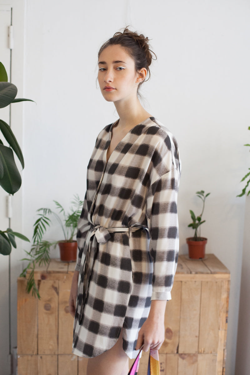 Shirtdress Camila V19 manga larga cuadros