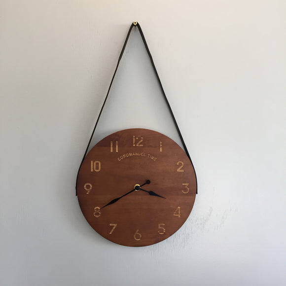 NZ Wood Clock with Leather Strap by Coromandel TIme