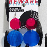 Hot Pink + Electric Blue Record Earrings