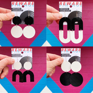 Black + White Record Earrings