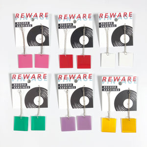 Square Record Chain Drop Earrings