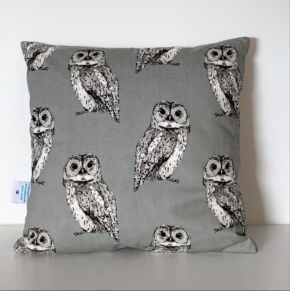 Grey Owl Cushion Cover SALE! FREE P & P