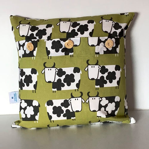 Retro Lime Cow Cushion Cover SALE! FREE P & P