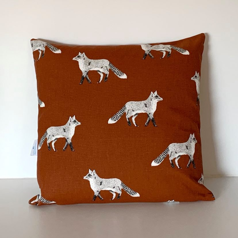 Orange/Brown Fox Cushion Cover SALE! FREE P & P