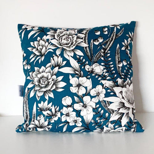 Teal and White Flower Cushion Cover SALE! FREE P & P