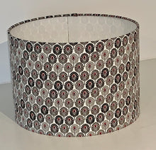 Load image into Gallery viewer, Black, White and Grey Peacock Feather Geometric Lamp Shade