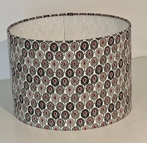 Black, White and Grey Peacock Feather Geometric Lamp Shade