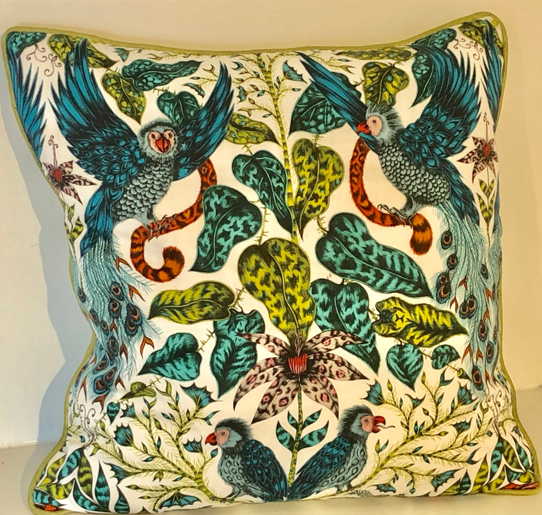 Emma J Shipley White Animalia Cushion