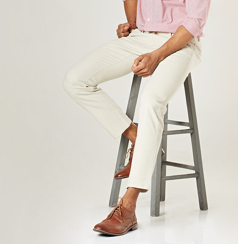Beige Tapered Chinos - Casual Chinos for Men