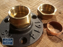 Load image into Gallery viewer, Miss Artisan - 22mm Brass Compression Flange Pipe Mount - Rustic / Industrial / Vintage Handmade Furniture