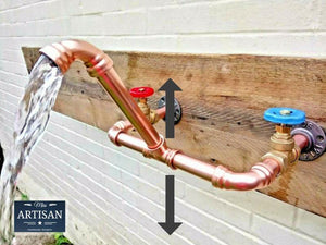 Miss Artisan - Wall Mounted Copper Pipe Mixer Taps - Rustic / Industrial / Vintage Handmade Furniture