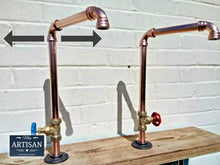 Load image into Gallery viewer, Pair Of Copper Pipe Swivel Taps