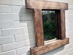 Reclaimed Solid Wood Rustic Mirror - Style 5 - Miss Artisan