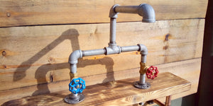 Miss Artisan - Galvanized Pipe Mixer Taps - Round Handle - Rustic / Industrial / Vintage Handmade Furniture