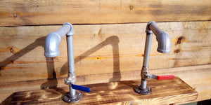 Miss Artisan - Pair Of Galvanized Faucet Taps - Lever Handle - Rustic / Industrial / Vintage Handmade Furniture